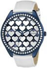 Guess Women's Dazzling Hearts w/ Patent Leather Strap Over-Sized Watch - U0535L2