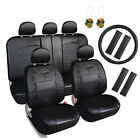 Auto Seat Cover Leather Set 17 pcs Steering Wheel Air Fresheners Black