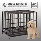 XXL 42 Dog Crate Kennel Heavy Duty Pet Cage Playpen w Metal Tray Exercise Pan