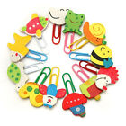 12pcs Cute Cartoon Animal Wooden Bookmark Paper Clips School Supplies Stationery