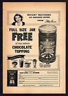 1961 TILLIE LEWIS CHOCOLATE ICE CREAM TOPPING PRINT AD WEIGHT WATCHERS STOCKTON