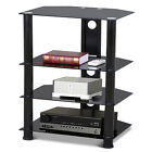 4 Tier Hi Fi Audio Stereo Media Component Stand Entertainment Rack TV Cabinet