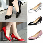Womens Low Mid Kitten Heels Office Work Patent Leather Pointed Toe Pumps Shoes