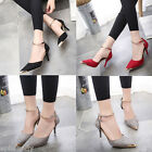 New Women Pointed Toe Suede Buckle Strap stiletto High Heels Pumps wedding Shoes