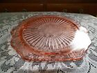 DEPRESSION GLASS PINK MAYFAIR TWO HANDLED FOOTED CAKE PLATE