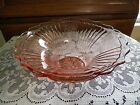 DEPRESSION GLASS PINK MAYFAIR FLARED AND SCALLOPED LARGE FRUIT BOWL