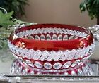 Vintage Ruby Red Cut to Clear Crystal Candy Dish Trinket Bowl
