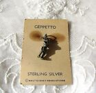 VTG Sterling Silver Geppetto Charm on Card Disney Movie Pinocchio 1940s 50s