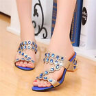 Summer Womens Rhinestones High Heel Slippers Shoes Fish mouth Open Toe Sandals