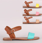 Womens Faux Leather Two Tone Ankle Strap Flat Sandals Shoes Beach Buckle Oxford
