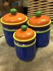 Pristine 3 Dansk Handpainted Caribe Bahama Blue Canister Set Excellent Perfect