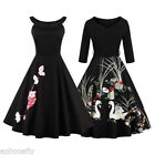 Vintage Style Swing 50s Floral Housewife Pinup Rockabilly Evening Dance Dress US