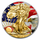 2016 SILVER AMERICAN EAGLE FLAG COIN  COLORIZED AND GOLD GILDED 1OZ