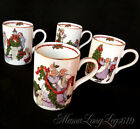 Set of 4 Fitz and Floyd DECK THE HALLS Christmas Holiday Mugs Cups 1982 Japan