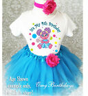 Abby Cadabby Rainbow Polka dots Blue Girl 4th Birthday Tutu Outfit Shirt Set