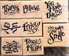 SUM STAMPIN UP EVERYDAY EXPRESSIONS WOOD SET OF 8 VERY NICE STAMPS MTD RET
