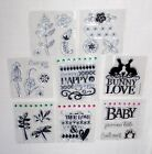 Lot of 8 STUDIO G Clear Acrylic Stamps NEW Baby Flowers Love Friends Bunny