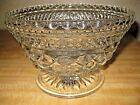 Vintage Anchor Hocking Wexford Crystal Footed Pedestal Compote Trifle Bowl