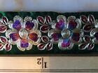 Metallic Gold Embroidered Multi Color Flower Floral Trim 9 1/2 Yards