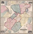 1861 Map of Middlesex County New Jersey New Brunswick LARGE 40 x 41