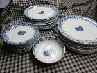 Dinnerware Set | TIENSHAN Folk Craft, Blue SPONGE Hearts, 26 Pieces Stoneware