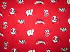 WISCONSIN BADGERS RED LOGO SPORTS COTTON FABRIC BTHY