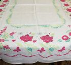 Vintage Red Pink Roses Morning Glories  Butterflies Tablecloth 52 x 68