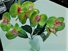 Artificial Butterfly Orchid Silk Flowers Phalaenopsis Decor Vibrant pink green +