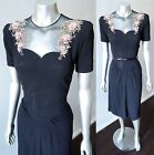 Vintage 40s 50s Sheath Embellished Beaded Mesh Black Cocktail Party Dress Sz S M