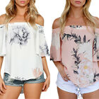 Boho Women Off Shoulder Casual Solid Shirts Lace Top Tees Blusas Blouse Tops HOT