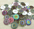 25pcs Wooden Round Mixed pattern printing sewing Scrapbooking Buttons 20mm