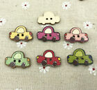 25pcs Wooden Cartoon Retro car Shape Buttons sewing Scrapbooking decoration 25mm