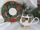 Fitz & Floyd HOLIDAY PINE Lot - 4 Cups / Saucers - New In Original Box - Rt 2001