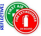 REFLECTIVE 2 inch Fire Extinguisher FIrst Aid Kit Round Decals Stickers Jeep