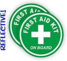 Pair REFLECTIVE 3 inch First Aid Kit on Board Vinyl Decals  Stickers 4x4 Jeep