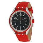 Swatch Irony Xlite Go Jump Red Leather Black Dial Swiss Quartz Watch YES