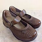 Dansko Kitty Brown Leather Mary Jane Shoes Clogs Size 38 US 75 to 8 Comfort