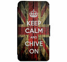 KEEP CALM & Chive on Leather Flip Phone Case Cover for iPhone & Samsung D3