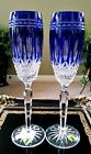 SET of 2 WATERFORD CLARENDON Cobalt Blue Crystal CHAMPAGNE FLUTES, NEW w/Labels