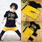 2pcs Toddler Kids Baby Boys T shirt Tops + Long Pants Summer Outfits Clothes Set