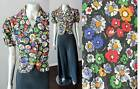 Floral Dolman VIntage 30s Button front Taffeta Cropped Dress Waist Jacket Xs - M