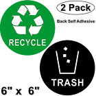 2 Pack 6 X 6 RECYCLE  TRASH Back Self Adhesive Vinyl Decal Sticker For Cans