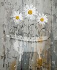 Rustic Yellow Daisy Farmhouse Country Bathroom Home Decor Matted Picture