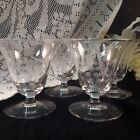 Vintage Etched Grape Cluster and Vine Low Sherbet/Champagne Glasses
