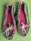 Womens Pink Boat Shoes Plaid Slip On Casual Walking Cruise 7 8 New