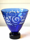 Correia Art Glass Cobalt Blue Etched Cameo Vase Signed 72 of 200 w/Certificate