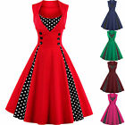Plus Size Vintage Polka Dot 50's ROCKABILLY Swing Pin Up Housewife Retro Dresses