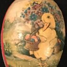 Vintage Paper Mache EGG Cardboard CANDY CONTAINER Box Western Germany DUCK Red