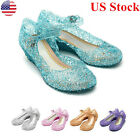 US Kids Girl Princes Fancy Crystal Jelly Gel Shoes Party Sandal Dress Up Cosplay