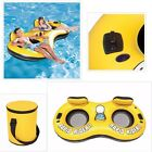 2 Person Inflatable Seat Floating Tube Lounge Pool Lake Cooler Cup Holder